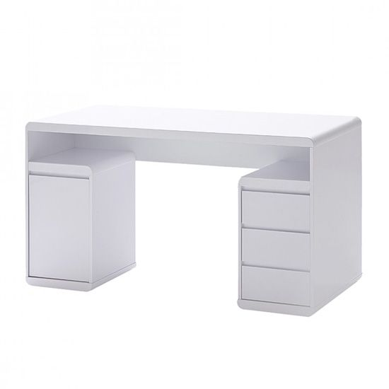 Daniele Computer Desk In White High Gloss With Storage. Office White Gloss Rotating Computer Desk And Bookcase Storage
