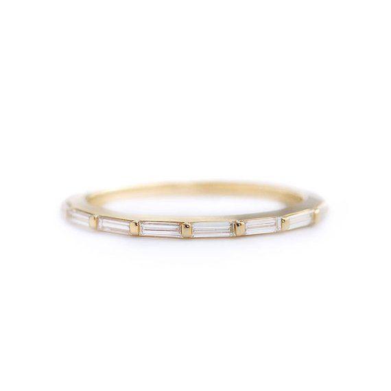 Baguette Ehering, Art-Deco-Hochzeit Ring, Baguette-Schliff Diamanten Ewigkeit, zierliche Trauring, Band, Baguette Diamanten Band