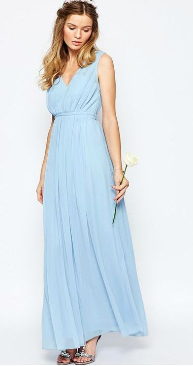 Pale blue bridesmaid dress | ASOS Waist Maxi