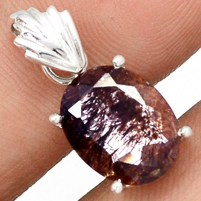 Faceted Cacoxenite 925 Sterling Silver Pendant Jewelry CXFP9 - JJDesignerJewelry