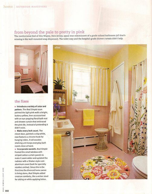 Real Simple Bathroom Makeovers Pink Bathroom Tiles Yellow Bathrooms Yellow Bathroom Tiles