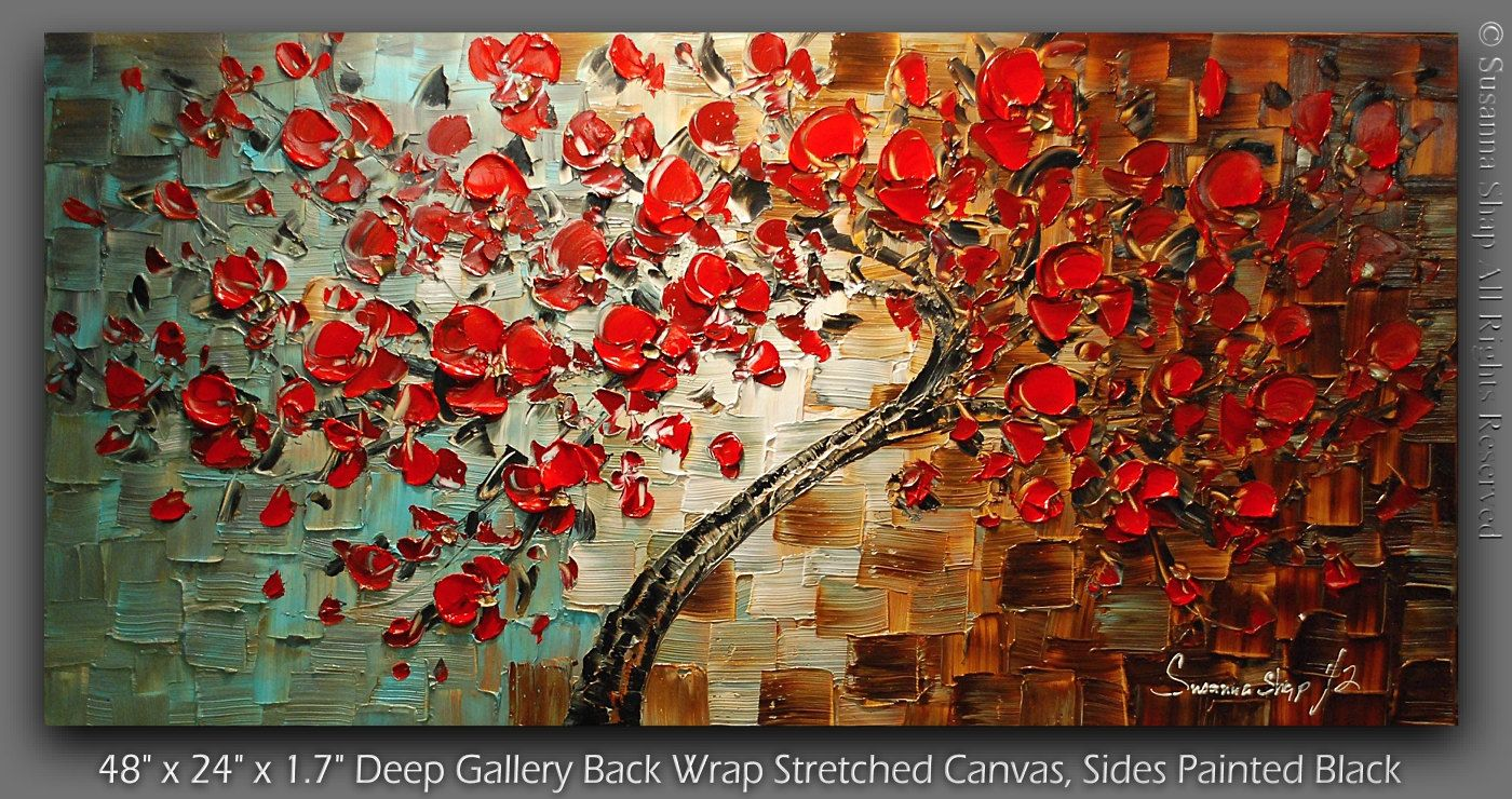 Original Large Abstract Contemporary Red Cherry Blossom Tree Oil Painting Thick Texture Gallery Fine Art By Susanna Painting Large Abstract Red Cherry Blossom