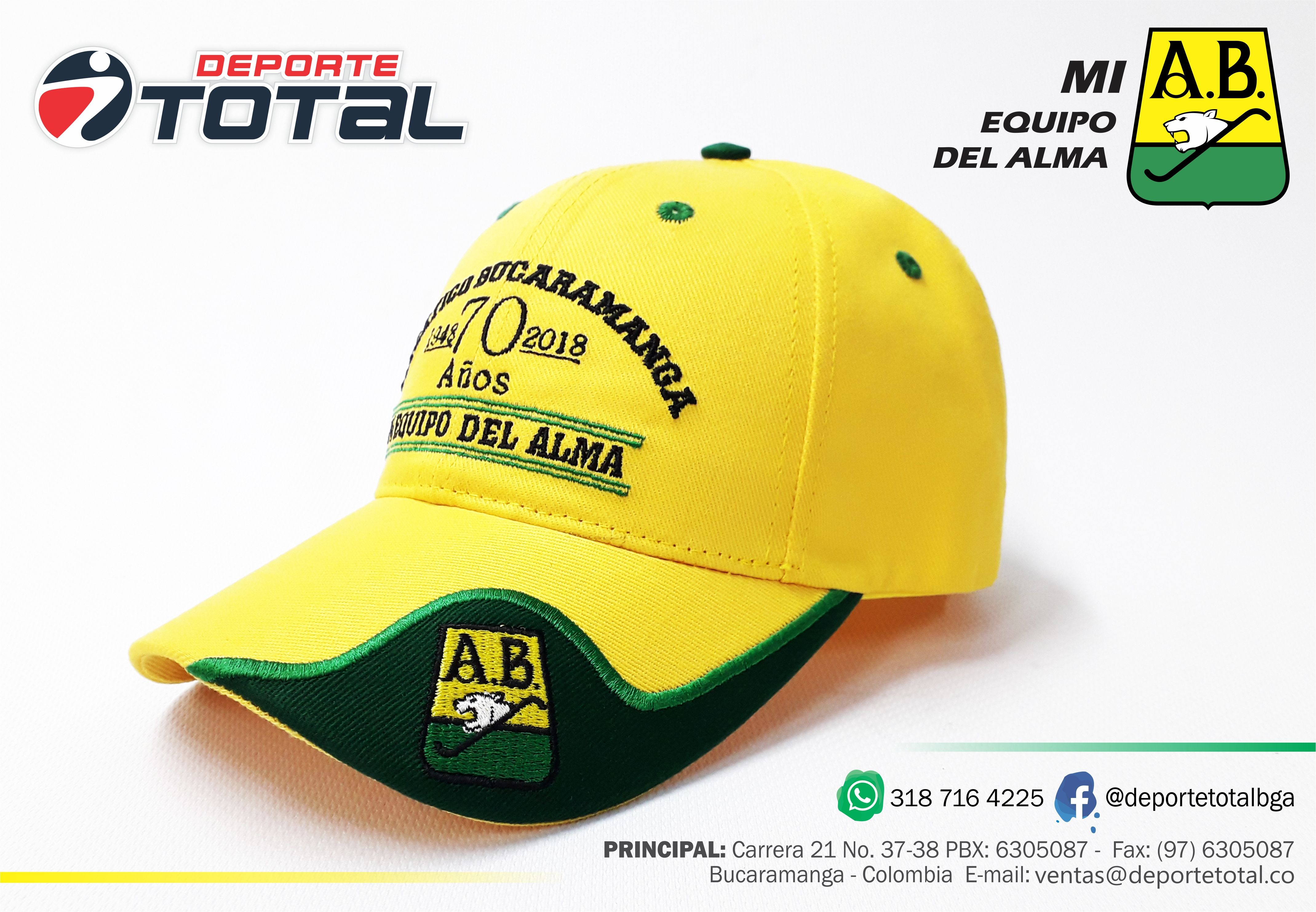 f96e283001f62 GORRA OFICIAL AB - DEPORTE TOTAL - MI EQUIPO DEL ALMA - ATLETICO BUCARAMANGA