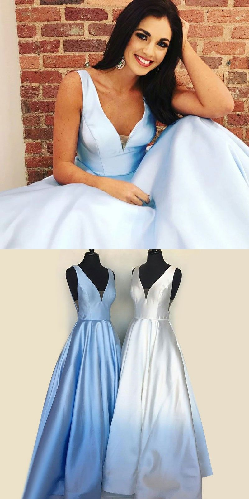 2386701cab6 A-Line V-Neck Backless Light Sky Blue Satin Prom Dress with Pockets ...