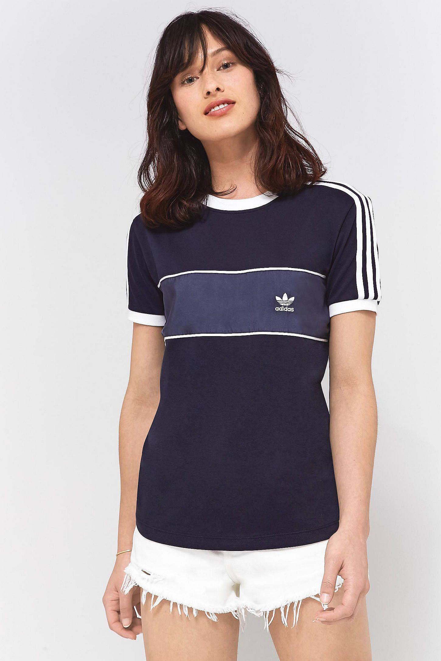 adidas Originals 3 Stripe Paneled Navy T Shirt | Adidas