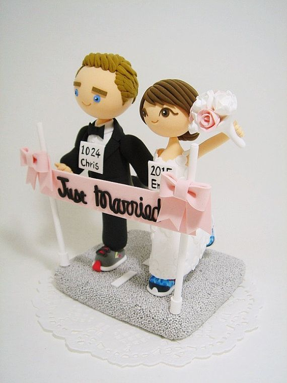 Marathon runners theme Custom wedding cake topper by Clayphory