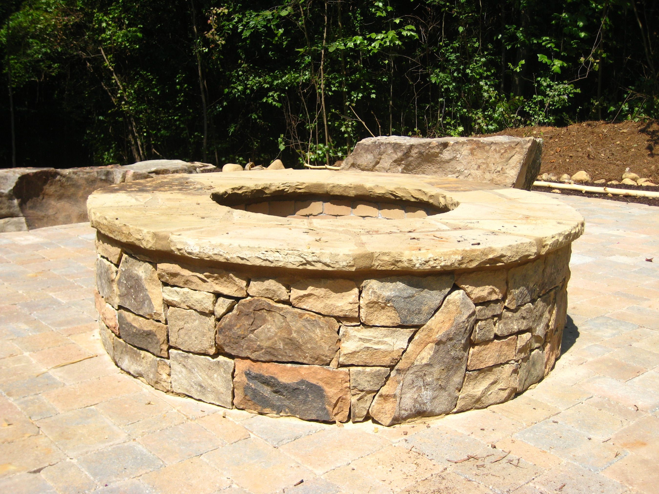 Stacked Stone Firepit | Fire pit, Brick fire pit, Outdoor ...