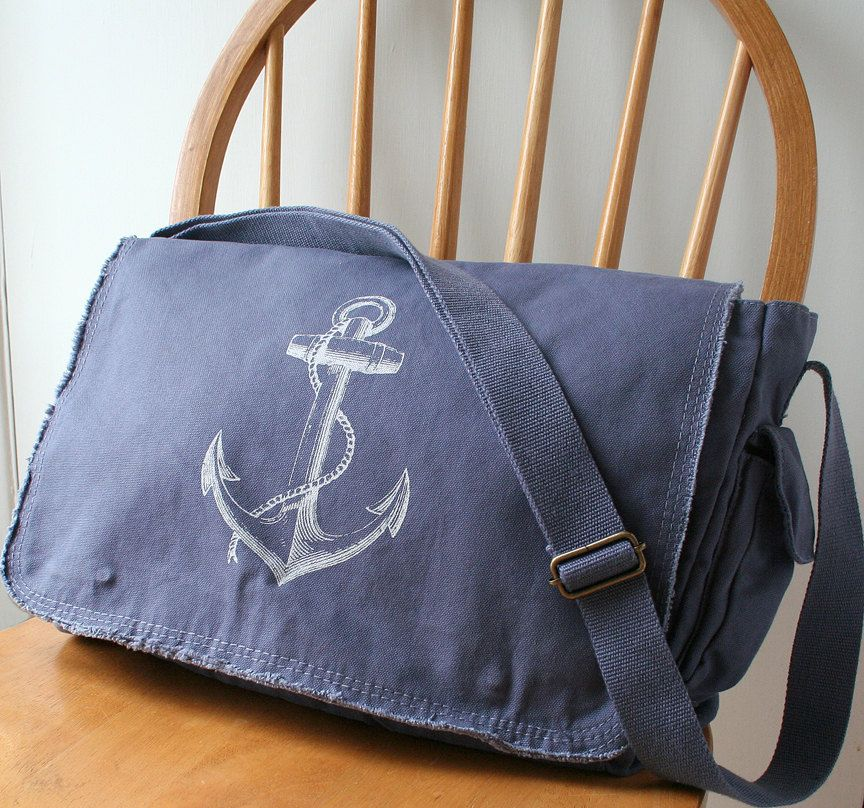 Anchor Messenger Bag Blue Canvas Screen by catbirdcreatures. $40.00 USD, via Etsy.