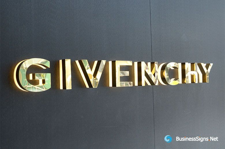 3d Led Backlit Signs With Mirror Polished Gold Plated Letter Shell 20mm Thickness Acrylic Back Panel For Givench Acrylic Signage Backlit Signs Signage Design