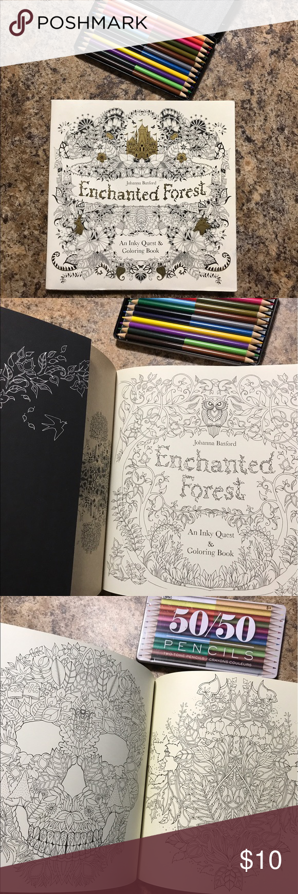 Urban Outfitters Forest Coloring Book Pencils New Enchanted Colored