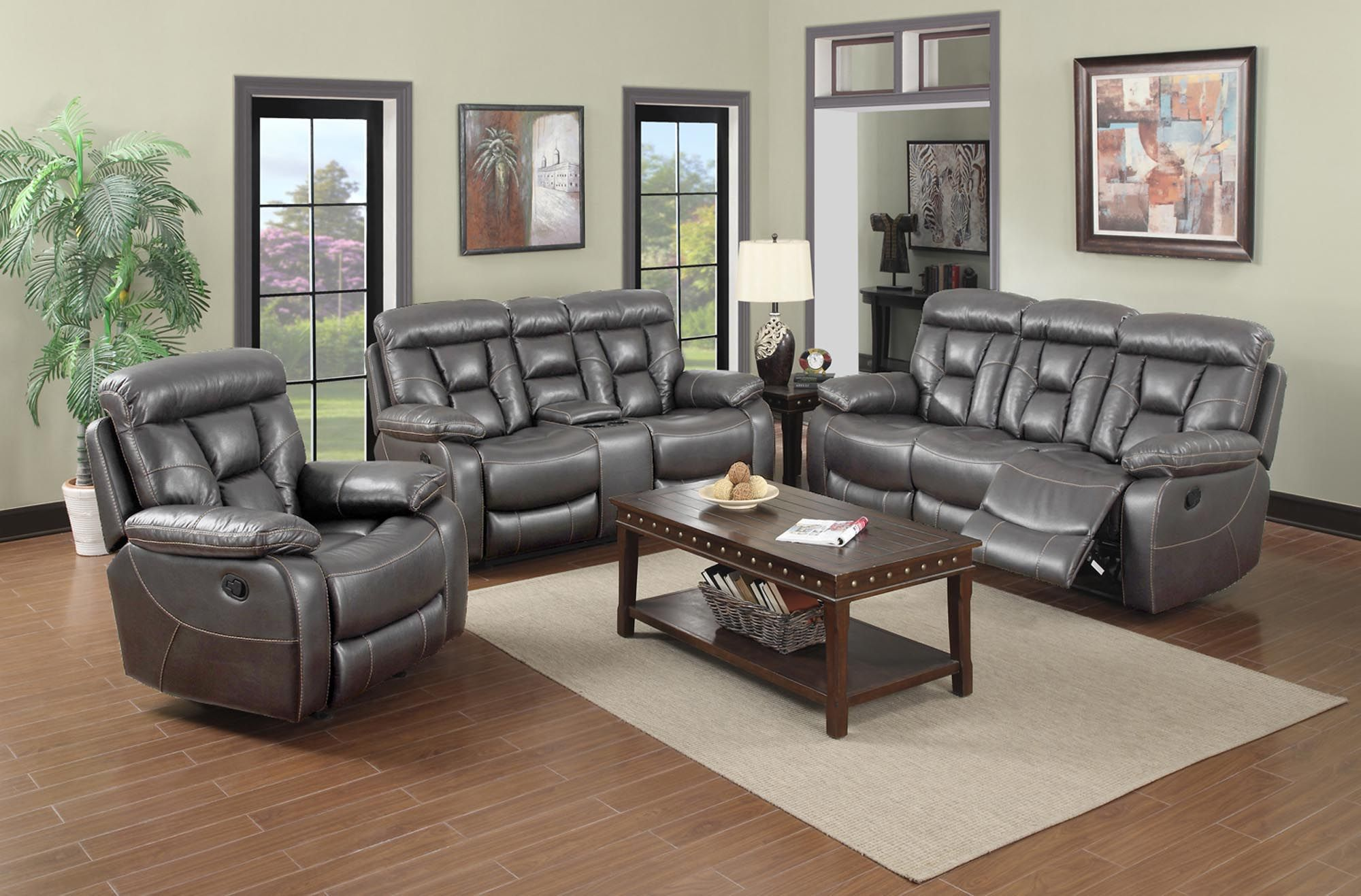 Richton Motion Collection Grey Faux Leather With Light Brown Accent Thread Cupholders And Storage Pocket Coil Living Room Sets Sofa And Loveseat Set Room Set
