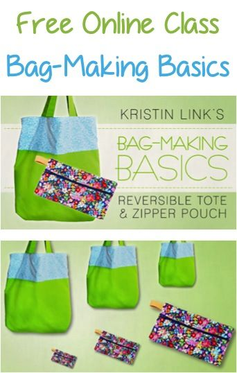 FREE Online Class: Reversible Tote and Zipper Pouch Bag Making Basics! {easy tips to learn how to make bags!}