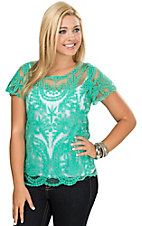Rock & Roll Cowgirl Jade Green Tulle with Allover Embroidery Short Sleeve Top