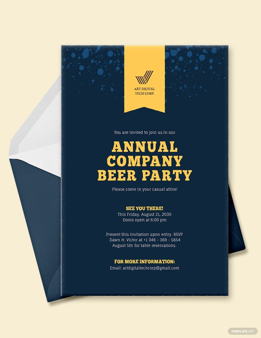 Company Event Invitation Template - Word | PSD | Apple Pages | Publisher |  Illustrator | Outlook in 2020 | Event invitation templates, Invitation  templates word, Event invitation