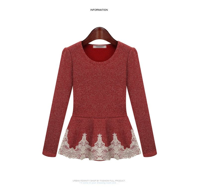 New 2014 Spring Ladies Sexy Lace Peplum Top Long Sleeve O Neck Pullover Cotton Knitted Slim Waist High Street Women Sweater-in Pullovers from Women's Clothing & Accessories on Aliexpress.com | Alibaba Group
