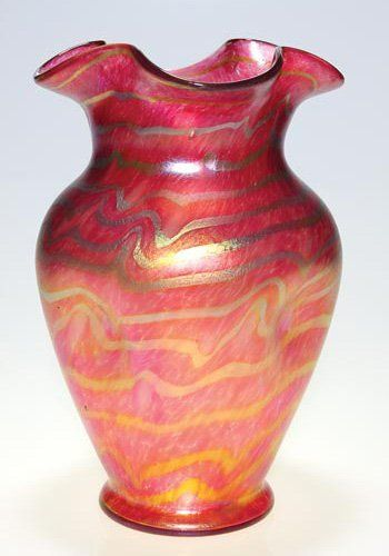 466 Kralik Vase Red Silver Designs Ruffled12 12 On Art