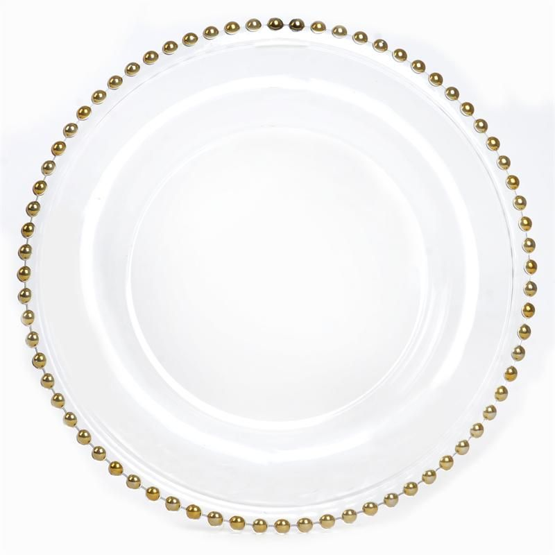8 Pack 12 Round Gold Beaded Glass Charger Plates Glass Charger Plates Gold Beaded Glass Charger Plates Glass Beaded Charger Plate