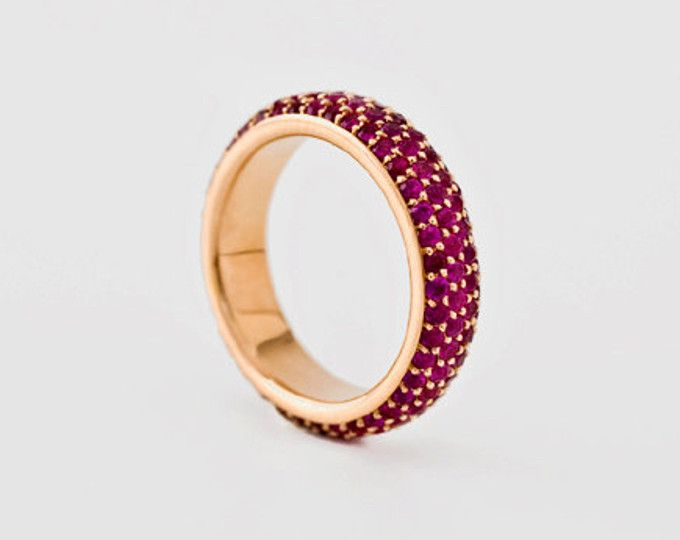 Red Ruby Ring Full Eternity Ruby Eternity Ring Yellow White Rose Gold Solid 18k Gold Stacking Ring Wedding Band