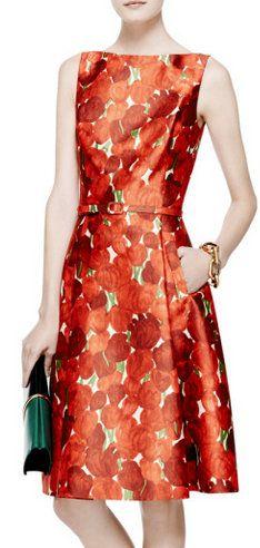 @Axlrose #perfect @Jaredleto - Oscar de la Renta Rose-Print Silk-Blend Mikado Dress