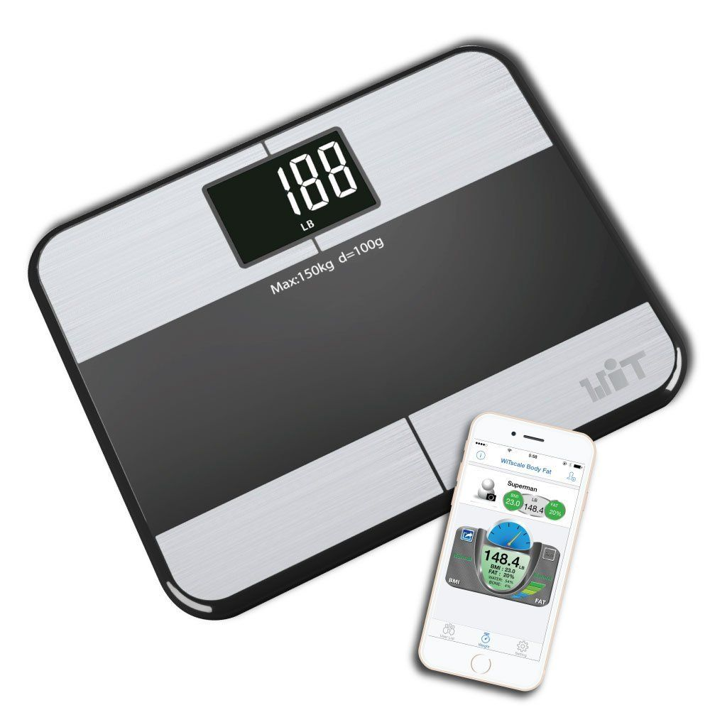 Bathroom scale body fat - Witscale S1 Stainless Steel Body Fat Bluetooth Smart Digital Bathroom Scale With Large Backlit Display And