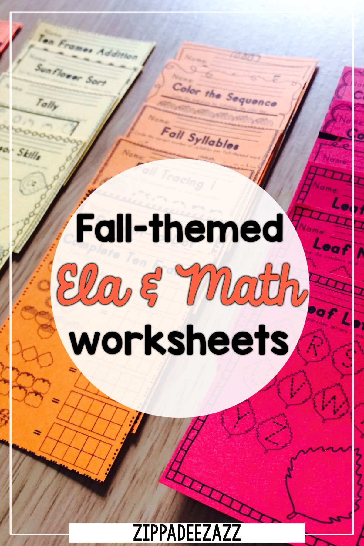 Worksheets For Fall Ela Literacy And Math Activities