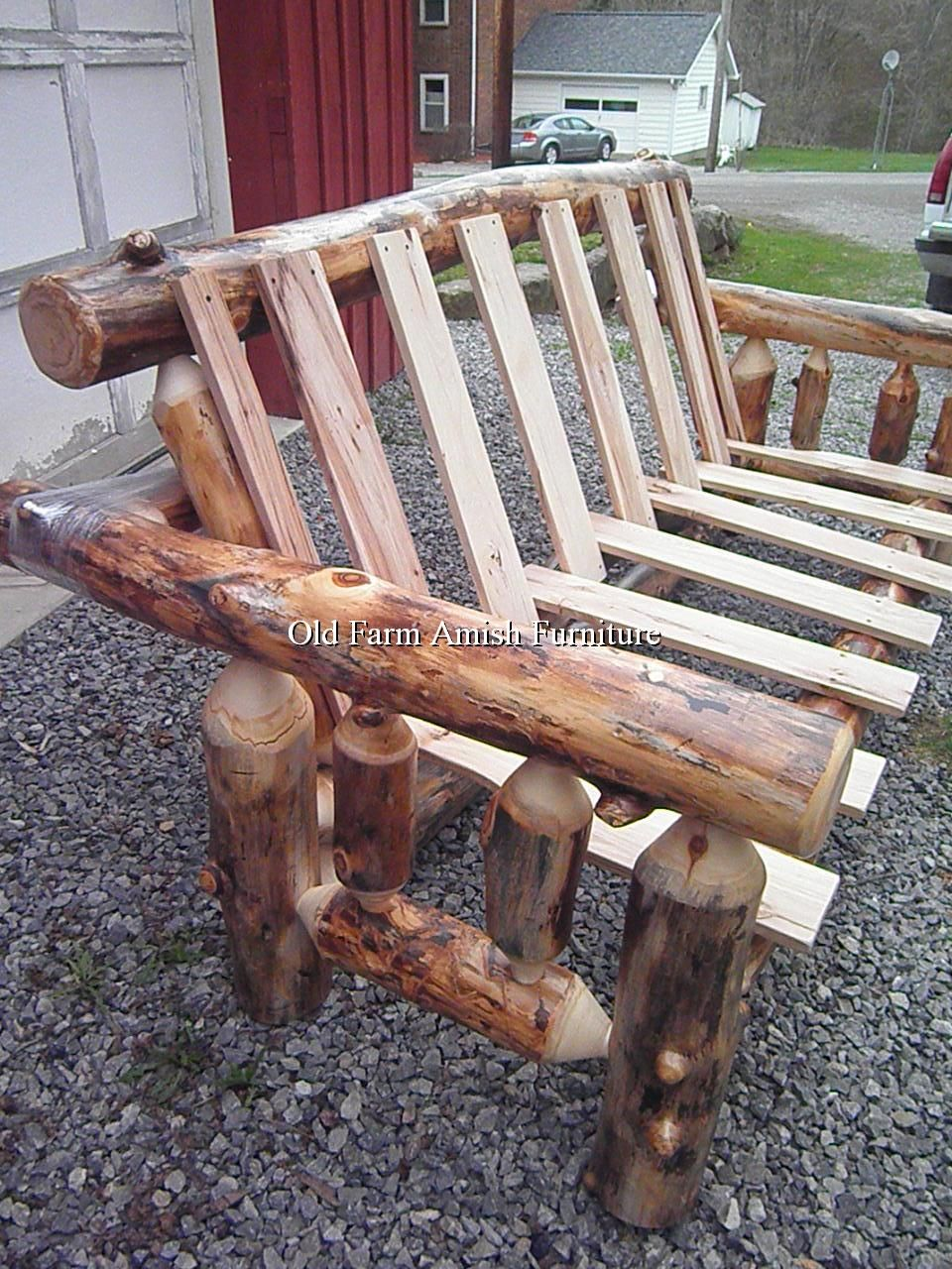 Aspen Log Futon Amish Made Old Farm Amish Furniture Dayton Pa