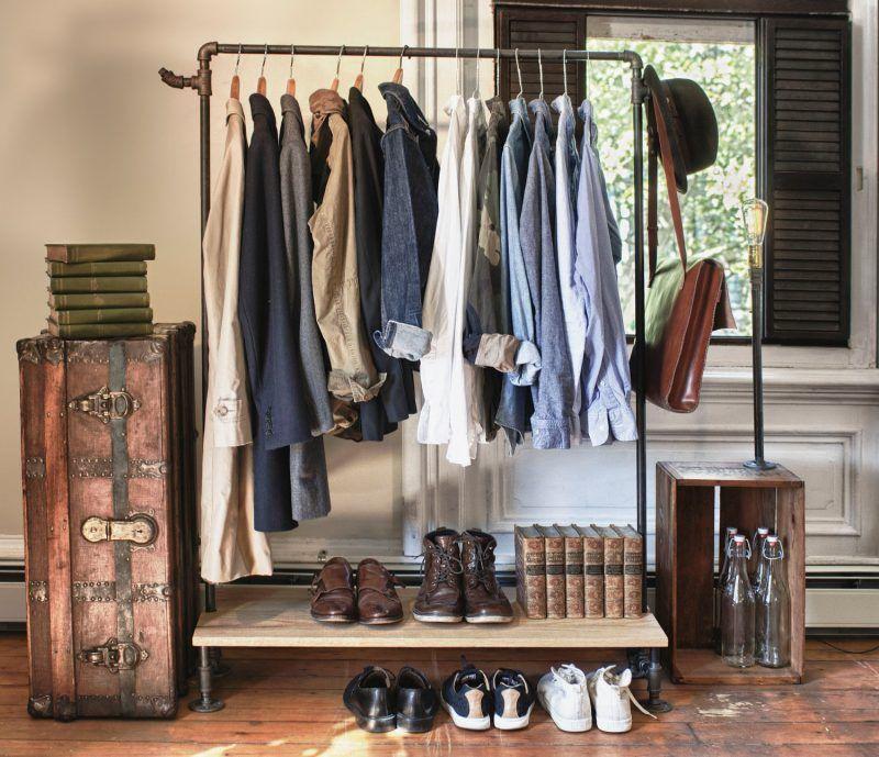 platz sparen kleiderstange f r wand selber bauen kleiderst nder pinterest garderobe. Black Bedroom Furniture Sets. Home Design Ideas