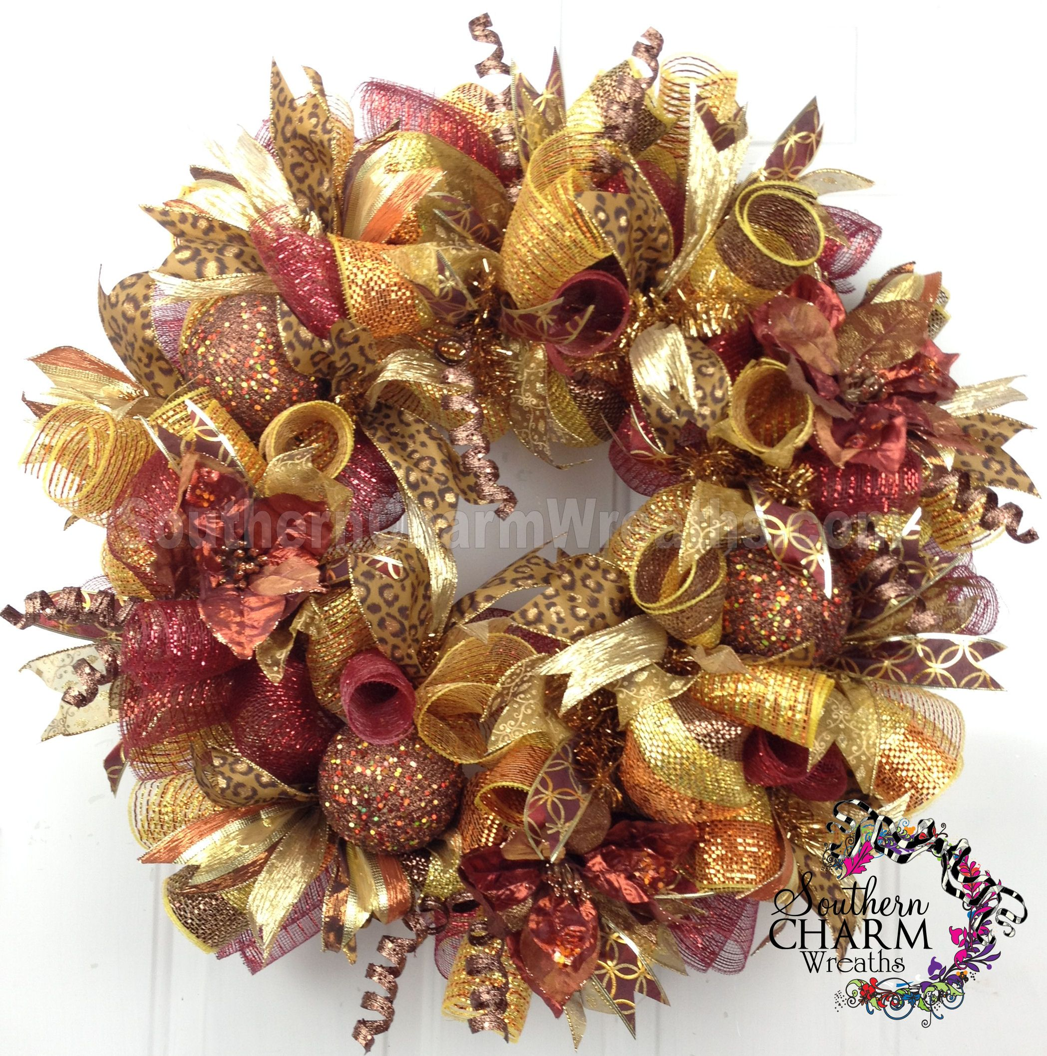 Deco Mesh Christmas Wreath For Door Or Wall Bronze Gold Copper Cheetah Glam  By