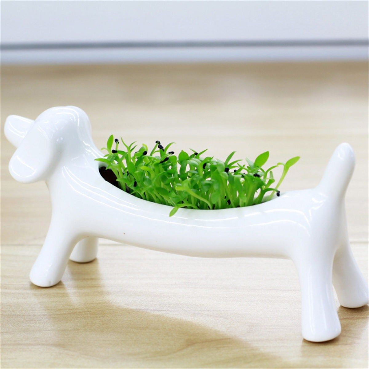 White Ceramic Dog Shape Nursery Pot Planter Price 995 Free