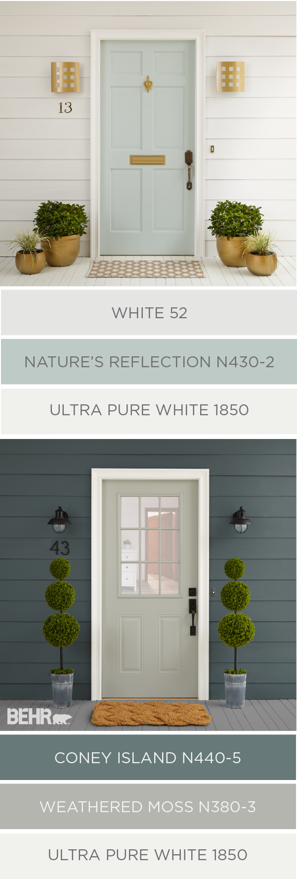 Cleaning up the exterior of your home in time for the holiday's doesn't have to be hard. You can raise your house's curb appeal in just a few easy steps. These two color palettes from BEHR Paint use traditional, stylish colors to completely change the look of this home. Try repainting your front door and adding some boxwood plants to give your house a fresh new feel.