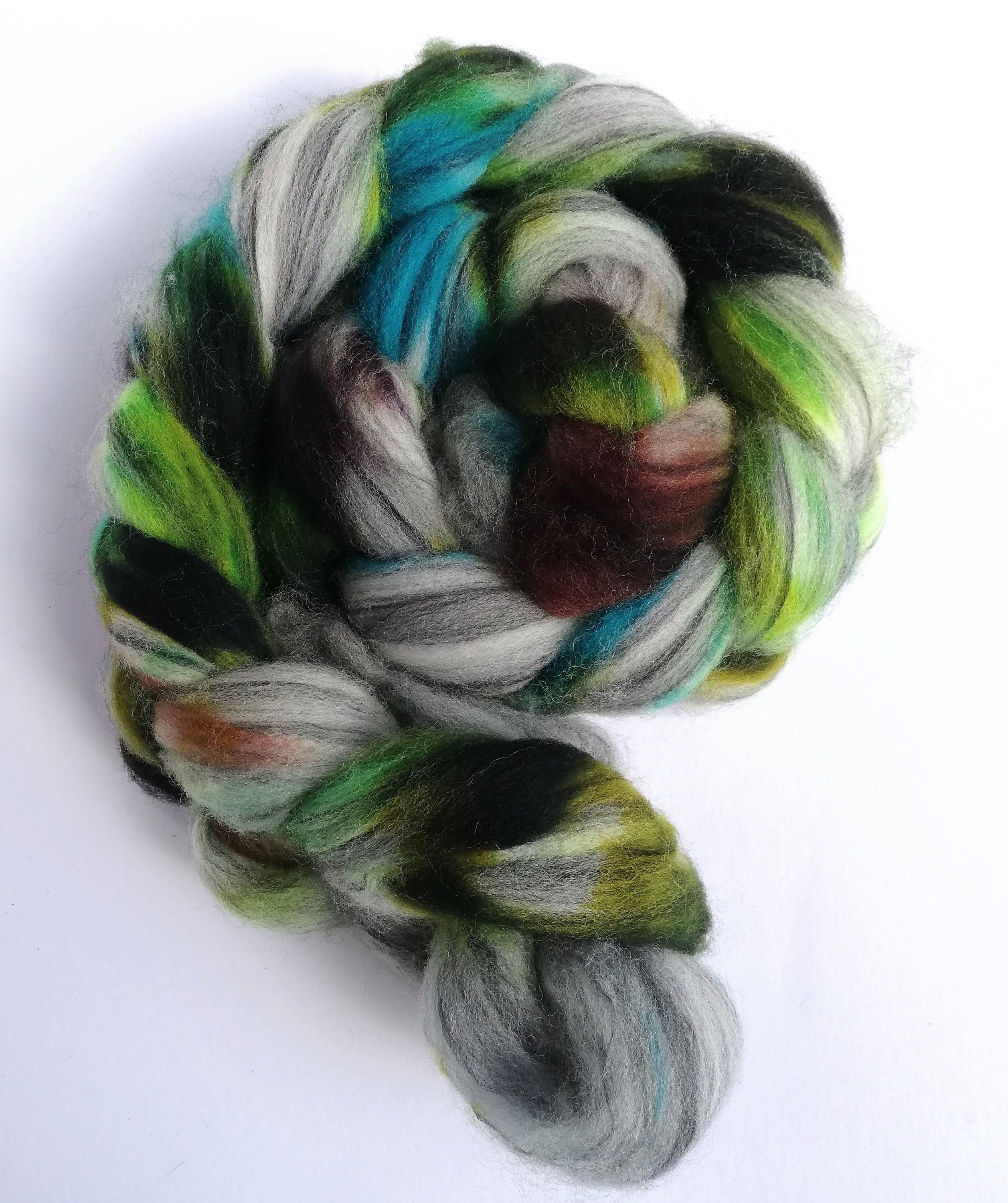 Ice Blue on Polwarth and Silk Hand Dyed Roving