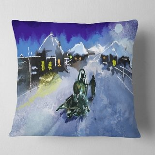 Designart 'Winter Road and Night Sky' Landscape Printed Throw Pillow (Square - 18 in. x 18 in. - Medium), Blue, DESIGN ART(Polyester, Nature)