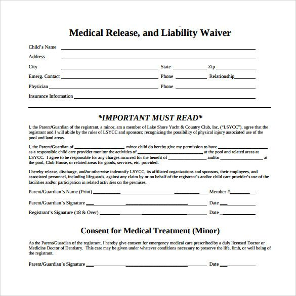 Free Consent For Medical Treatment Of A Minor Free To Print Save