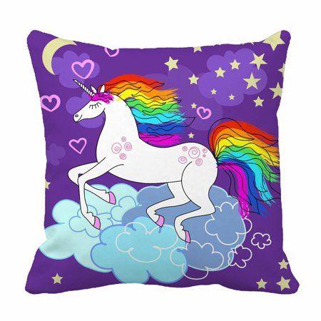 ECZJNT Beautiful rainbow unicorn Pillow Case Pillow Cover Cushion Cover 20x20 Inch