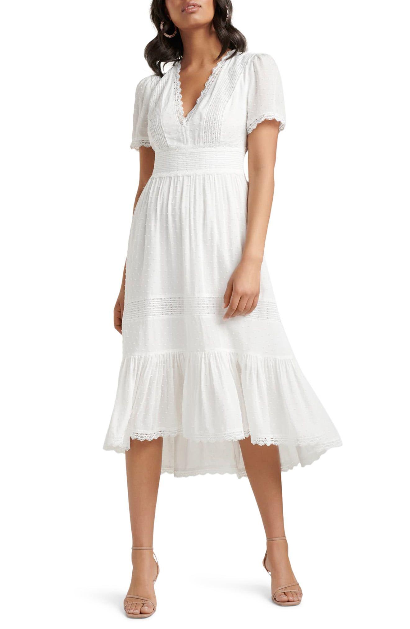 Ever New Margot Lace Trim Swiss Dot Midi Dress Nordstrom Casual White Dress White Midi Dress Dresses [ 2024 x 1320 Pixel ]
