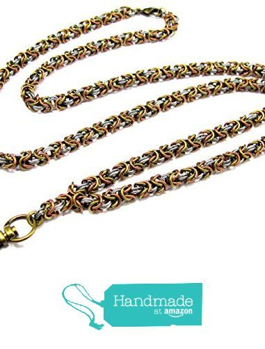 ID Badge Lanyard with Hand-Woven Byzantine Chain in Mixed Metals from By Brenda Elaine Jewelry http://www.amazon.com/dp/B018MGIIFW/ref=hnd_sw_r_pi_dp_5-pJwb0FH5TNT #handmadeatamazon