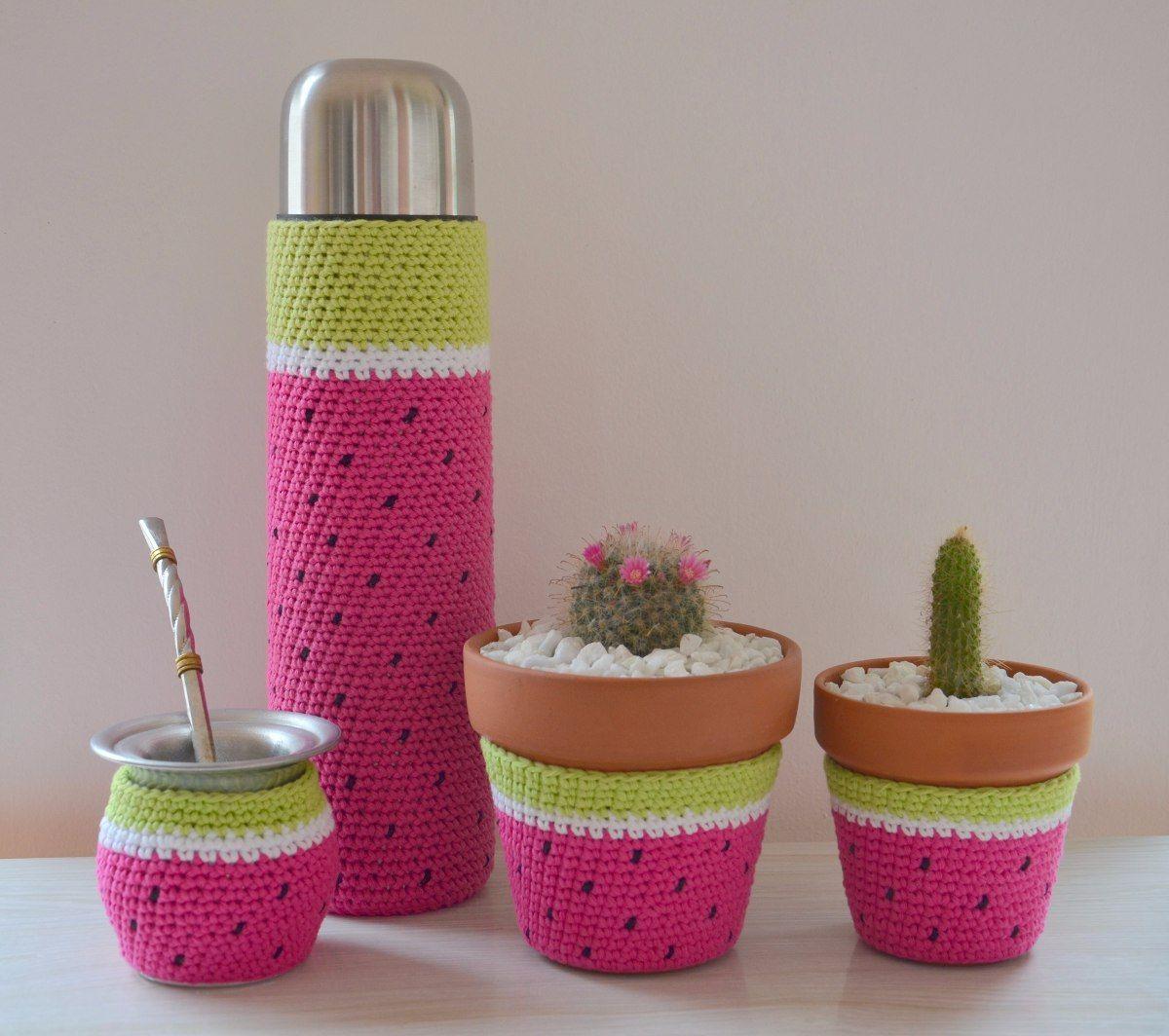 Cactus Con Flor Tejidos Al Crochet En Maceta De Barro Nro 7 - $ 70 ... | 1064x1200