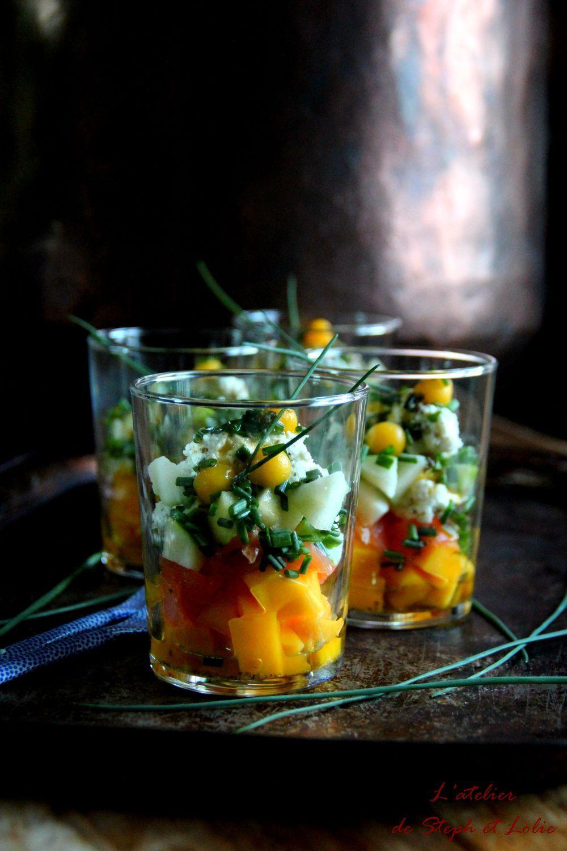 Verrines au Cabécou et à la mangue | Recette | Recette, Mangue et Verrine