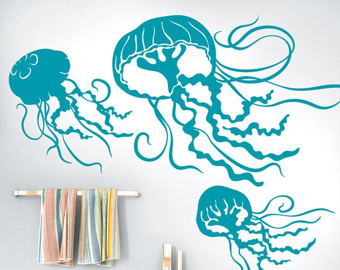 Under The Sea Beach Decor Bathroom Wall Life Marine Decal 3 Jellyfish Vinyl Decals