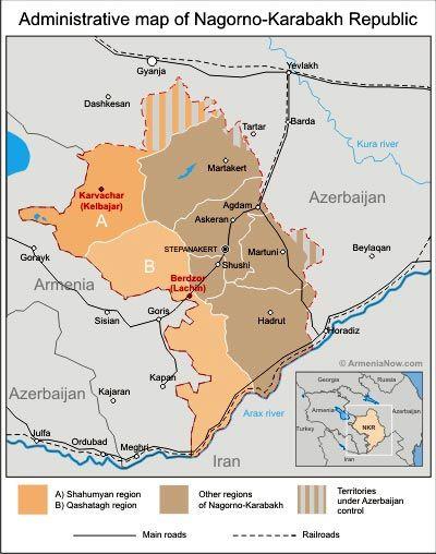 Administrative map of NagornoKarabakh Shows the Qashatagh or