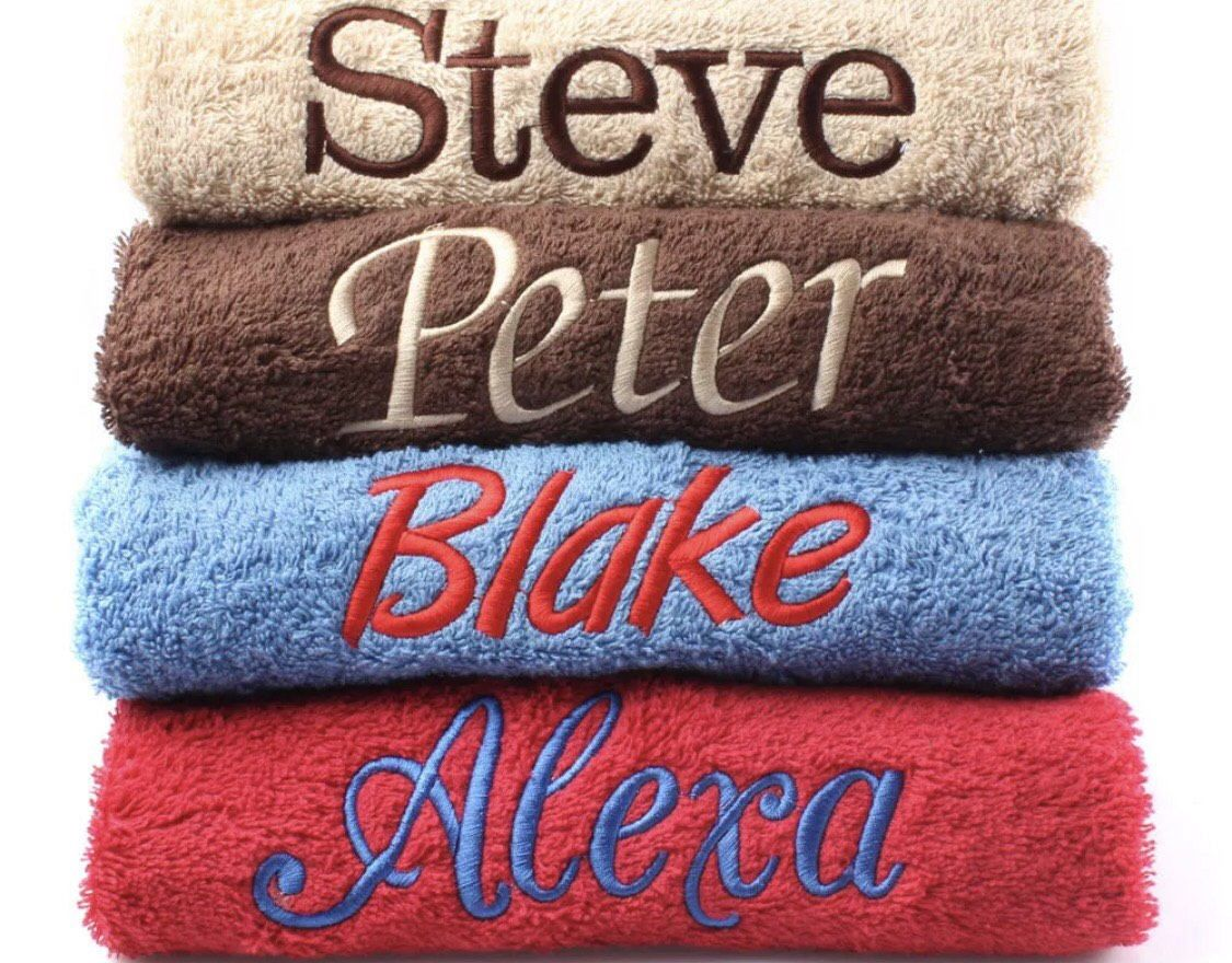 Personalised Bath Towels Embroidered With Name Of Your Choice