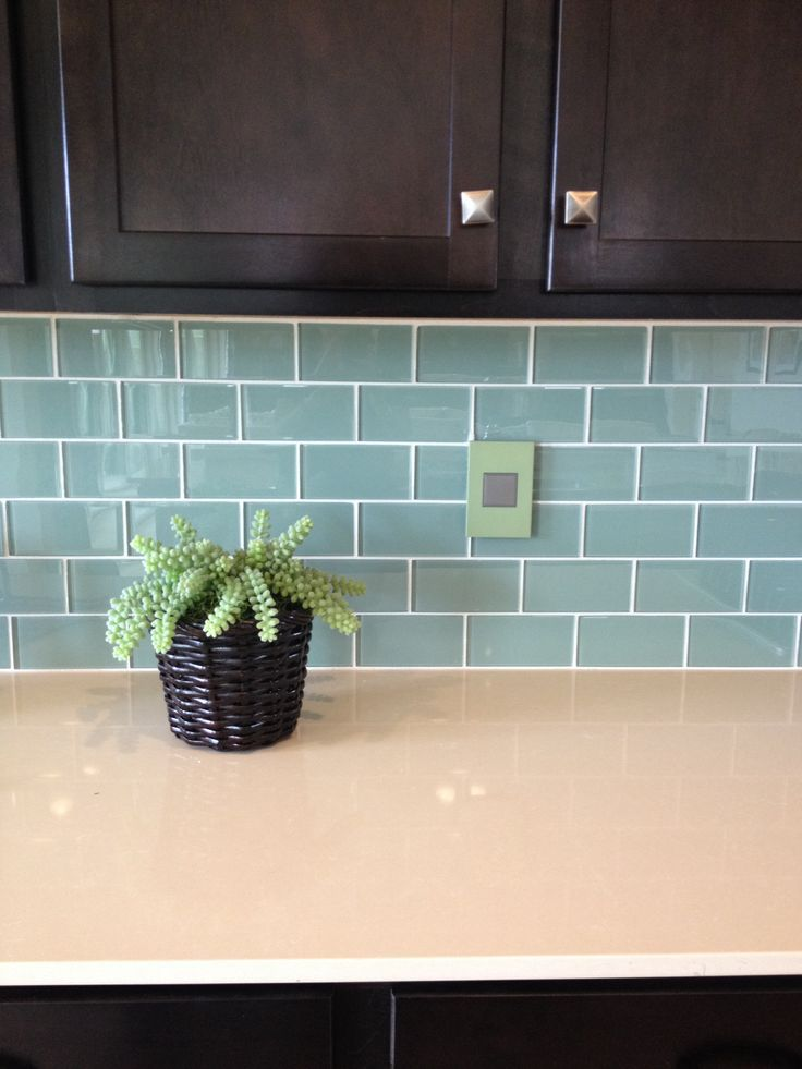 Blue Green Glass Subway Tile Backsplash For Dark Kitchen Cabinets