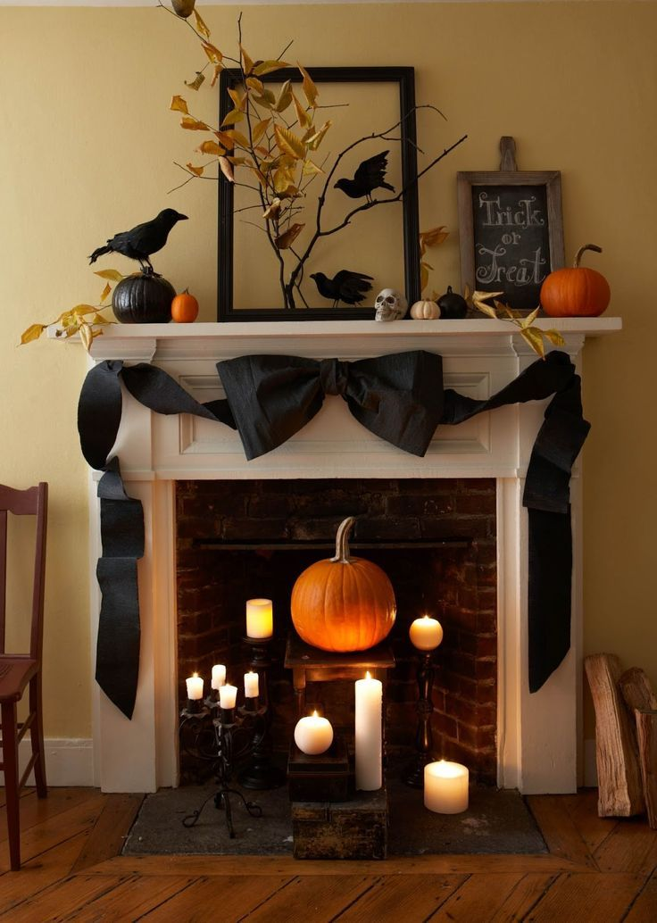 halloween decorations classy and spooky mantel with candles large black bow crows - Diy Indoor Halloween Decorations