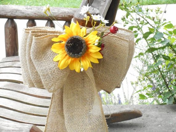 Photo of Large Burlap and Sunflower Pew Bows or Aisle Markers / Chair Bow / Country Wedding Decor / Rustic Wedding / Sunflower Wedding Decor / 6 Pcs.