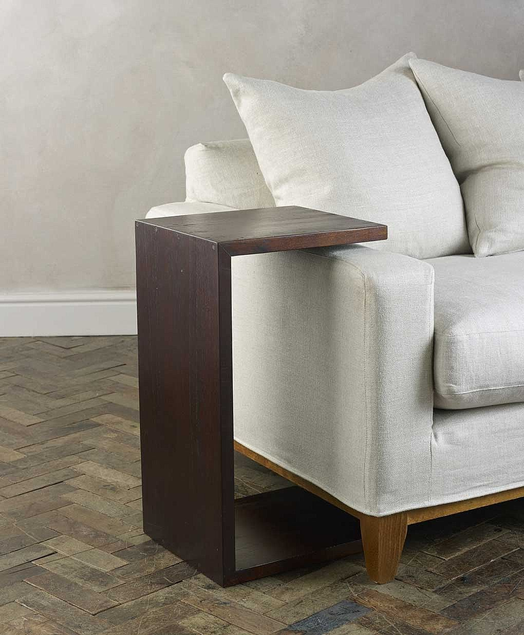 Seba Dark Brown Over Arm Side Table Furniture Design Sofa Table