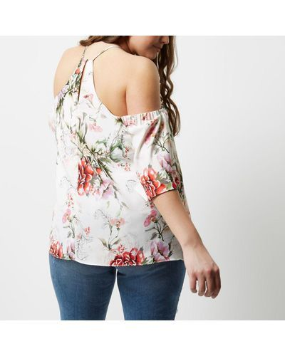 849ca921fceac1 Lyst - River island Plus Cream Floral Cold Shoulder Top in Natural