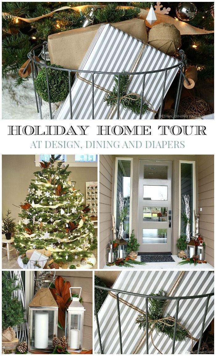 Enjoy the Christmas Home Tour of Taryn from DesignDiningAndDiapers.com Full of bright whites, metallics and natural elements.