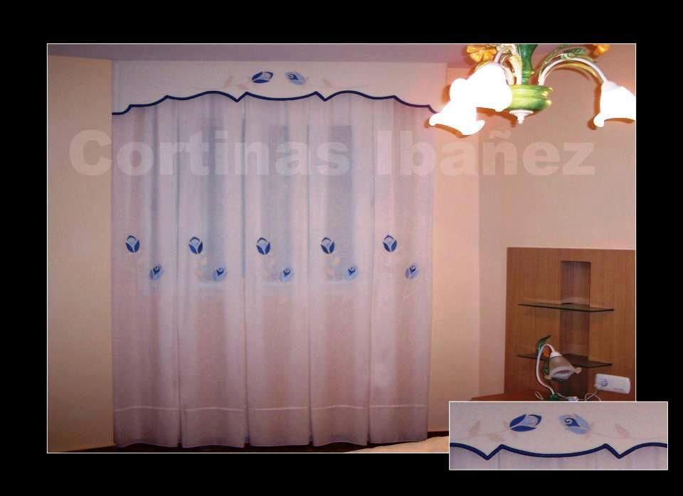 Decoraci n estilo rom ntico cortinas en visillos bordados - Cortinas y visillos confeccionados ...