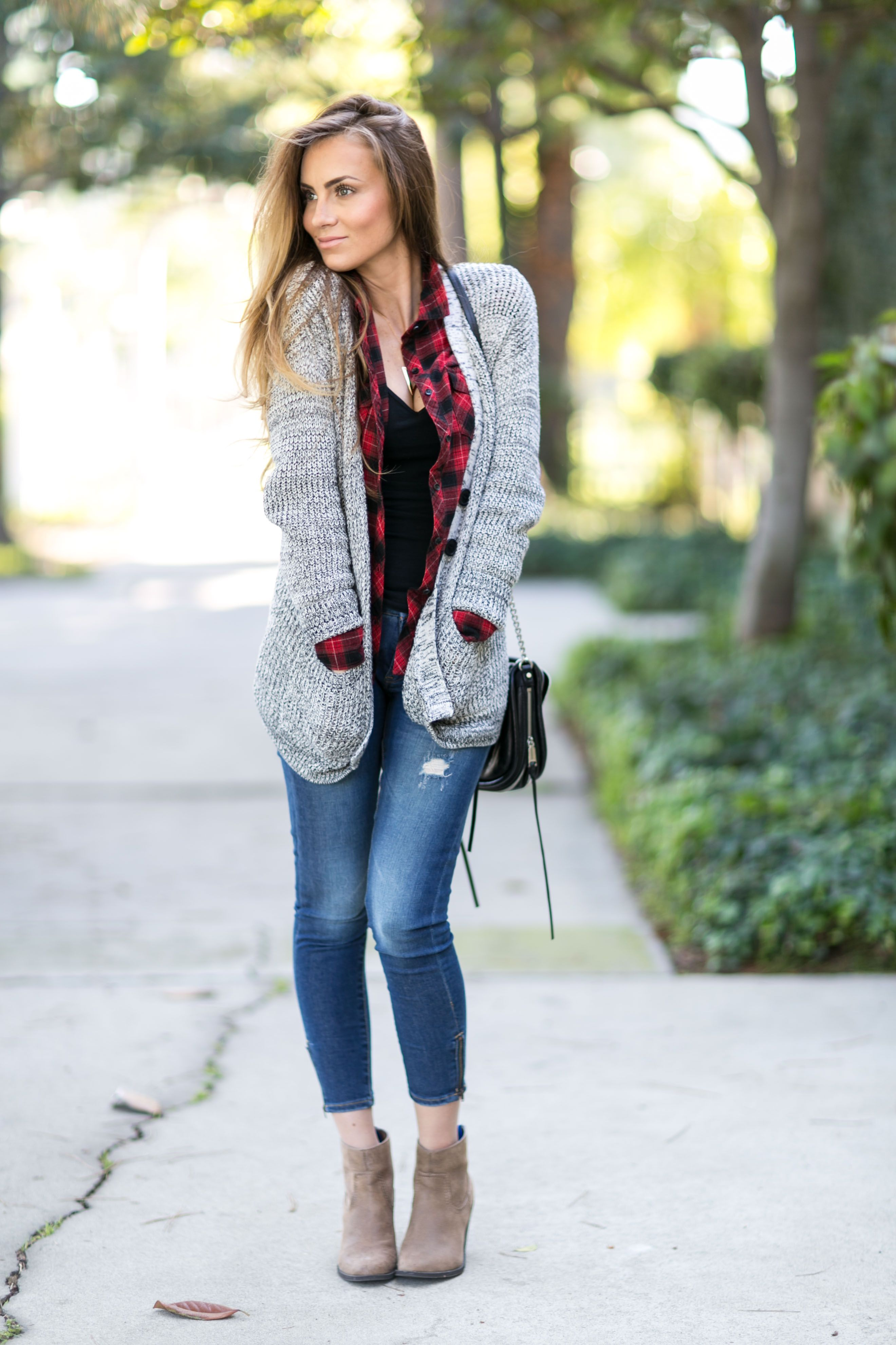 Red flannel and jeans   Fall Looks to Recreate  style  Pinterest  Tan booties Grey