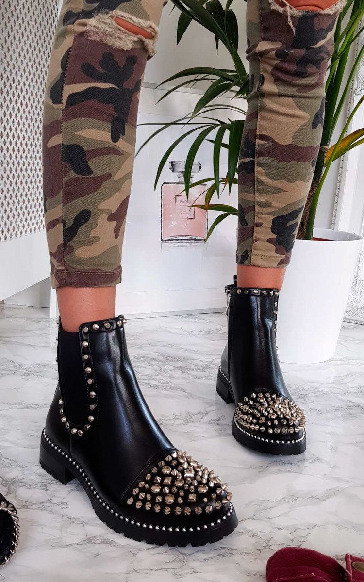 Sasha Studded Ankle Boots at ikrush in